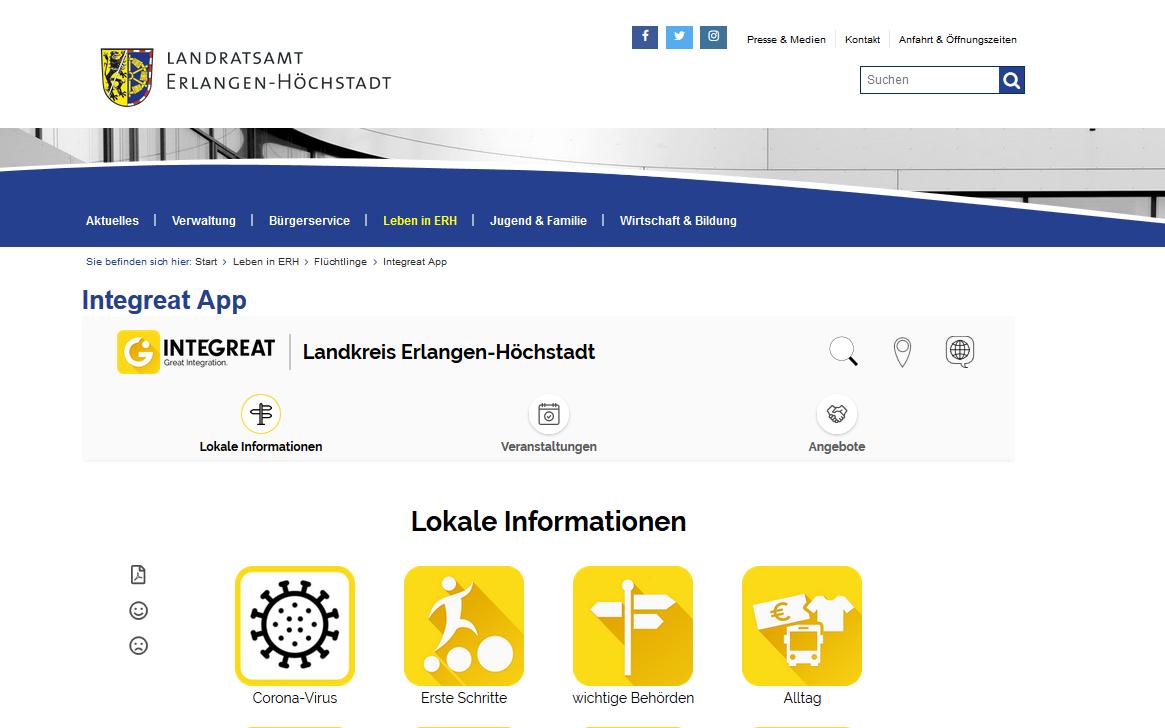 Integreat-Inhalte auf externer Webseite